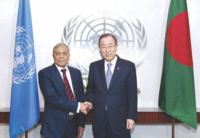 UN Secretary-General Ban Ki-moon meets with President of Bangladesh Abdul Hamid at United Nations in New York on June 19. Photo: UN