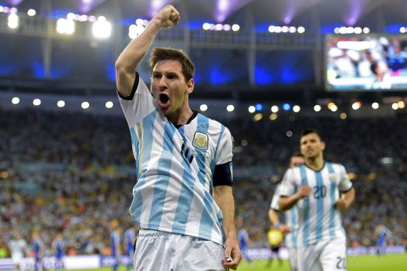 Argentina's forward and captain Lionel Messi celebrates after scoring his team's second goal during the Group F football match between Argentina and Bosnia Hercegovina at the Maracana Stadium in Rio De Janeiro during the 2014 FIFA World Cup on June 15, 2014. Photo: AFP/Getty Images