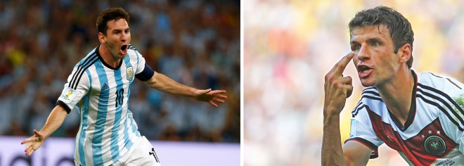 Lionel Messi? Or Thomas Mueller? The world waits on the Argentine genius (L) and the German machine to see who comes out smiling at the Maracana today. PHOTOS: REUTERS