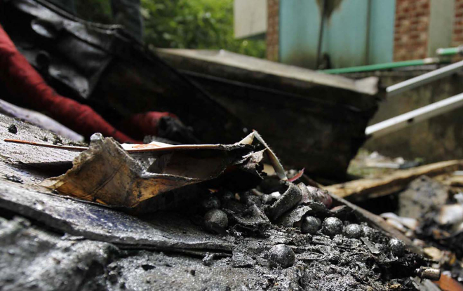 Metal balls of bearings among the debris after the explosion at Al Jamaiatul Ulum Al Islamia Madrasa in Lalkhan Bazar of Chittagong last year. Photo: File
