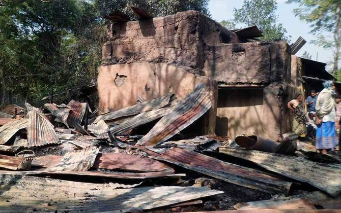 This January 17 photo shows the house of a Hindu family at Muhuripara of Satkania in Chittagong after criminals burnt it to the ground.