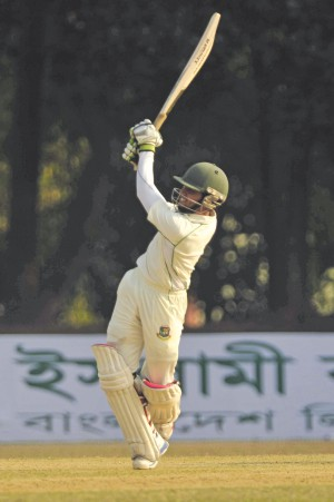 On a tough Day One for the batsmen at the BKSP which saw 25 wickets fall in the Bangladesh Cricket League yesterday, East Zone's Mominul Haque stuck out to produce a stroke-filled 94. Photo: Star