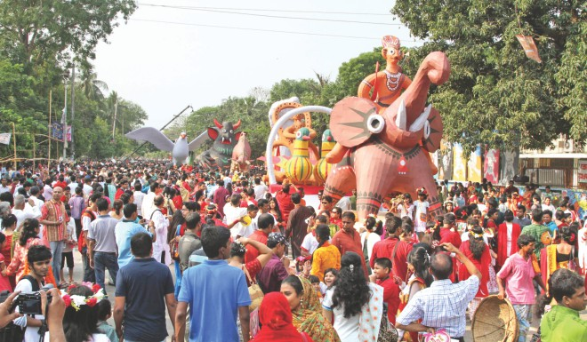 The Mongol Shobhajatra is one of the highlights of Pahela Baishakh celebrations.  Photo: Star