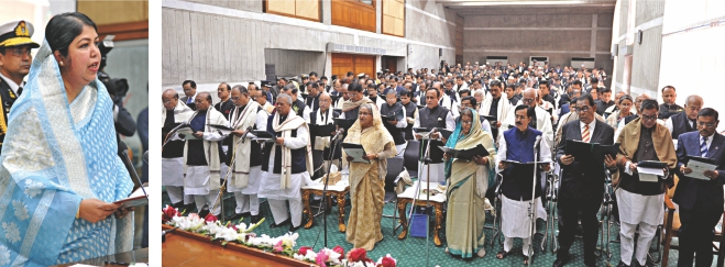 Speaker Shirin Sharmin Chaudhury administers oath to 284 MPs elected in the 10th parliamentary election at Jatiya Sangsad Bhaban yesterday. Photo: BSS