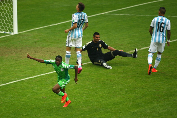 Ahmed Musa of Nigeria celebrates scoring his team's second goal and his second of the game past Sergio Romero of Argentina during the 2014 FIFA World Cup Brazil Group F match between Nigeria and Argentina at Estadio Beira-Rio on June 25, 2014 in Porto Alegre, Brazil. Photo: Getty Images