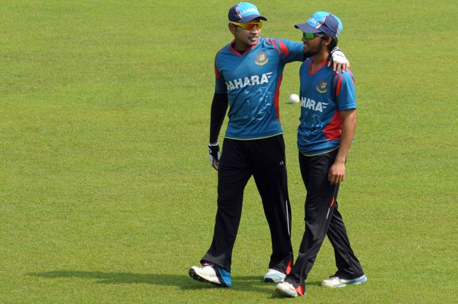 Bangladesh skipper Mushfiqur Rahim (L) will be banking a lot on the youngsters like Mominul Haque (R) if they are to get a result against India in their first match of the Asia Cup at the Fatullah Stadium today. PHOTO: firoz ahmed