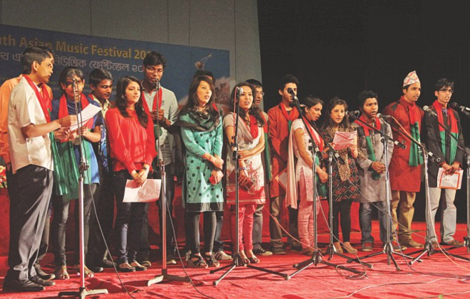 Nepalese artistes at the programme.