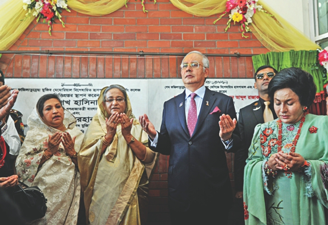 The Malaysian Premiere Najib Razak along with Prime Minister Sheikh Hasina is seen at an innaguration ceremony of a hospital-cum-nursing collage at Gazipur in November.