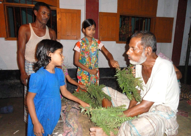 A paralysis patient at Bhadai village in Aditmari upazila of Lalmonirhat being treated with bunches of herbs supplied by a kabiraj. PHOTO: STAR
