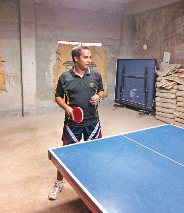 Riaz Mahmud Rocky, table tennis champion at the Narail Table Tennis Academy.