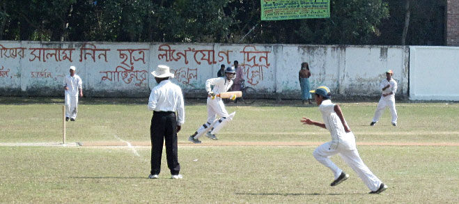 Cricket's Under 14 Divisional Final under way at the Narail Govt High School Field. The home side takes on Bagerhat.