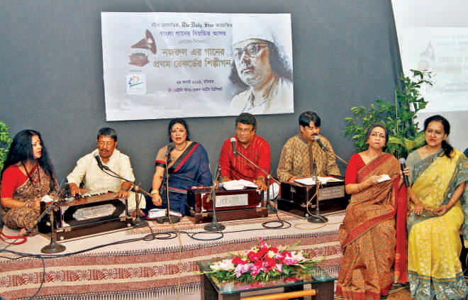 Renowned Nazrul singers pay tribute to the great poet and to the singers of his first records. Photo: Prabir Das