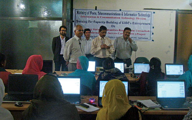 Training women to be skilled freelancers. Photo courtesy: ICT division, MoPTIT