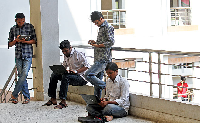 University students are using free high speed internet connection. Photo: Prabir Das