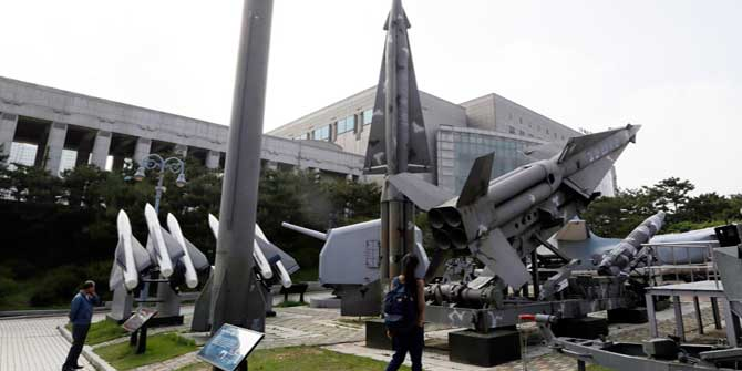 In this May 20, 2013 photo, a mock Scud-B missile of North Korea, left, and other South Korean missiles are displayed at the Korea War Memorial Museum in Seoul, South Korea. Photo: AP
