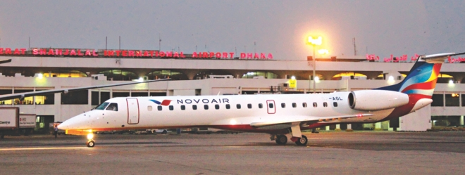 A new 49-seater Embraer EMB-145 jet, the third aircraft of Novoair's fleet, sits on the tarmac at Shahjalal International Airport in Dhaka yesterday.  Photo: Novoair