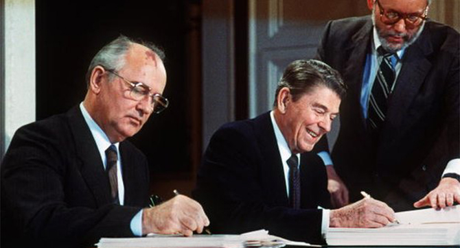 The agreement was signed towards the end of the Cold War by Mikhail Gorbachev (left) and Ronald Reagan. Photo taken from BBC