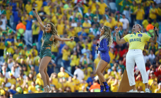 Singers (from L-R) Jennifer Lopez, Claudia Leitte and Pitbull are at full blast during the opening ceremony of FIFA World Cup 2014 at the Arena Corinthians in Sao Paulo on Thursday. PHOTO: REUTERS