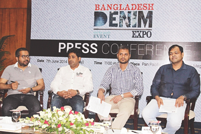 Organisers of a denim exposition to be held in November in Dhaka attend a press conference at Sonargaon Hotel yesterday. Photo: Star