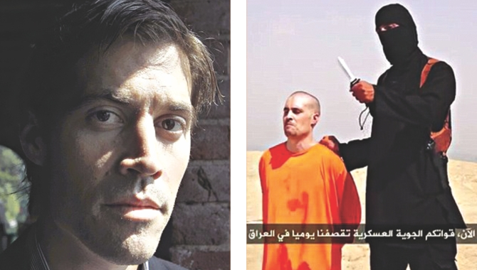 A file photo of US journalist James Foley, left, and  a video grab of the beheading video that the militants posted online.  Photo: Mail Online