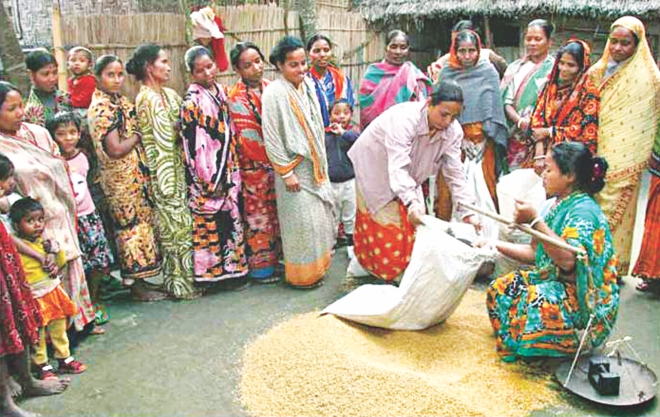Members of Community 'Dhan Bank' take paddy from the bank at Shipaipara village in Boda upazila of Panchagarh district. Photo: Star