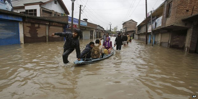 Srinagar, the capital of Indian-administered Kashmir, has also seen its streets flooded. Photo: AP