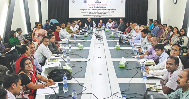 "Participants at a roundtable on ""Land Digitalisation: Prospect for Land Equality in Bangladesh"" organised by Manusher Jonno Foundation, Uttaran, and CARE at The Daily Star Centre in the capital yesterday. Shamsur Rahman Sherif, the land minister, and Abdul Mannan, director general of the Directorate of Land Records and Survey, attended the discussion as the chief guest and special guest respectively. Photo: Star"