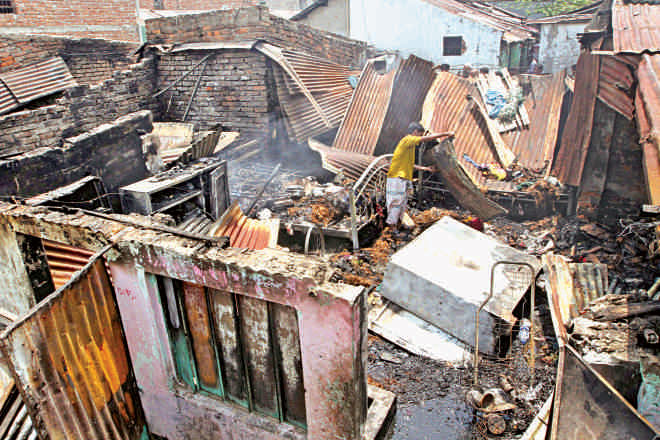 Hundreds of houses the Biharis have been destroyed by miscreants. Photo: Palash Khan