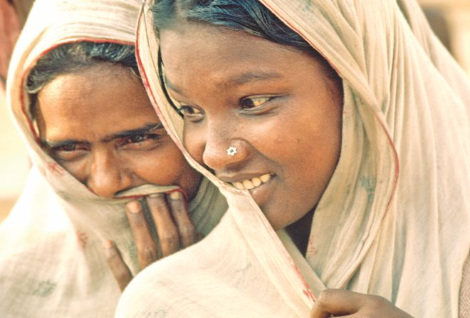 Portrait of women in a refugee camp: Bangladesh, 1972
