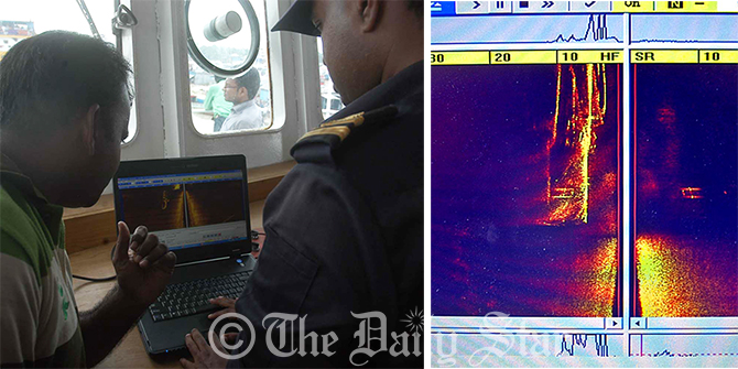 Rescuers examining the signal received from a metallic object resembling the sunken launch Pinak-6 in size (L). The image of signal has been generated from eco sounder devise (R). Photo: Star
