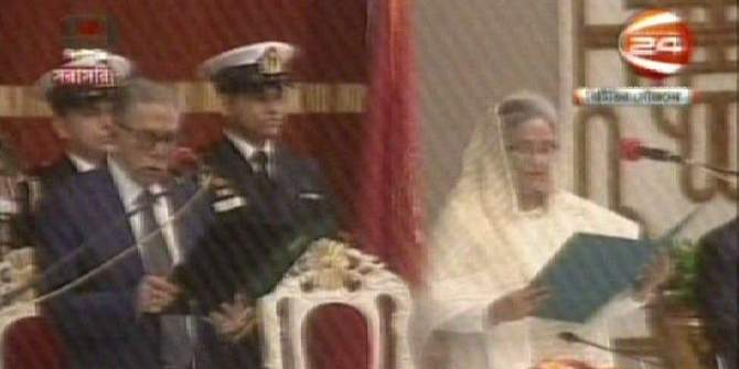 President Abdul Hamid administers oath to Sheikh Hasina, prime minister of the newly elected cabinet