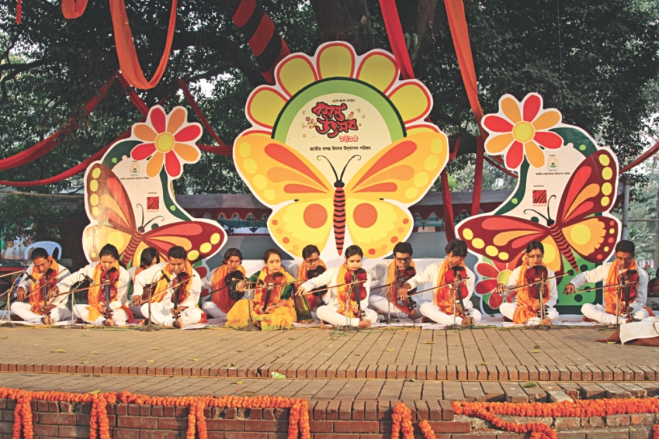 Pohela Falgun, heralding the arrival of spring, the king of all seasons was observed across the country with flowers, poems, songs and dances.