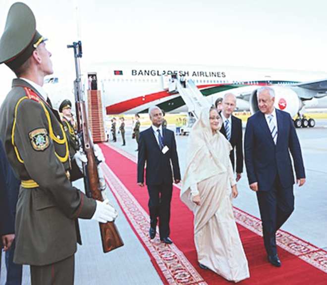 During mid-July 2013, Prime Minister Sheikh Hasina visited the United Kingdom and the East European Republic of Belarus.