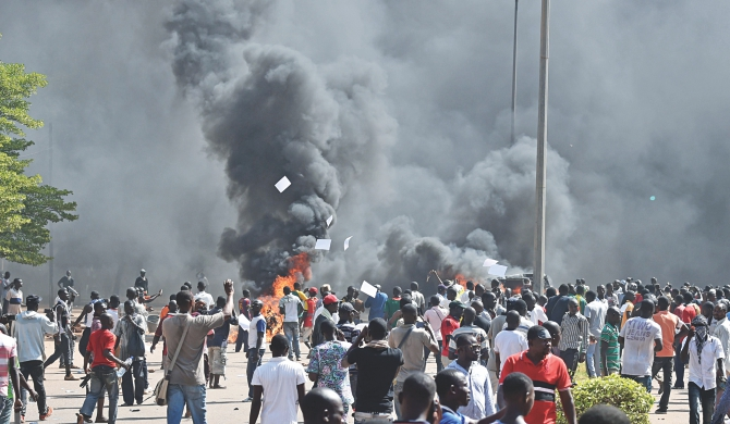 Burkina Faso parliament set on fire