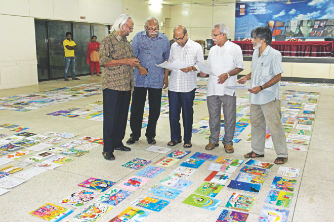 From left, artists Qayyum Chowdhury, Rafiqun Nabi, Samarjit Roy Chowdhury, Abul Barak Alvi, and Ashok Karmaker, judges of an Eid card designing contest of the Prothom Alo and Square Toiletries Ltd, looks at designs sent by children under the age of 15 during an exhibition of the designs in the auditorium of CA Bhaban in the capital yesterday. Photo: Star