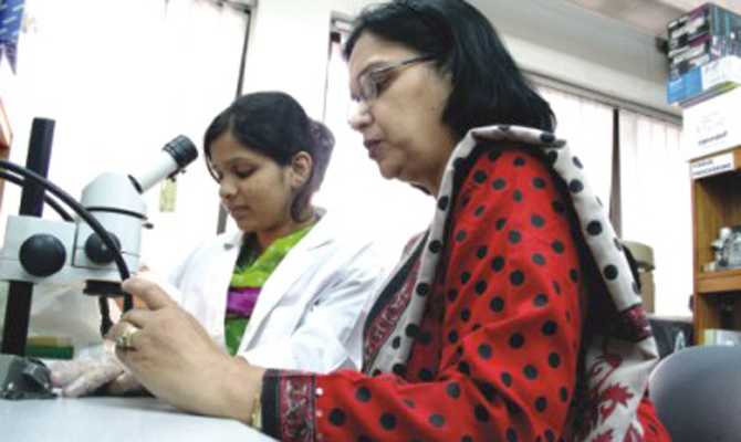 This 2007 file photo shows Dr Firdausi Qadri and her team at the Laboratory Sciences Division at ICDDR,B researching diarrhoeal pathogens. Photo: STAR