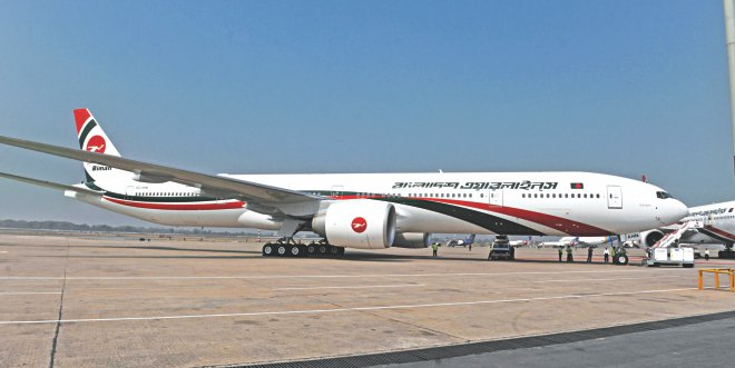 Raanga Pravat, the new Boeing 777-300 ER aircraft inducted into Biman's fleet, sits at Shahjalal International Airport yesterday. Photo: BSS