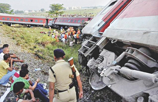 Rescue work in progress after 12 coaches of the Delhi-Dibrugarh  Rajdhani Express derailed near Chapra in Bihar yesterday. Photo: PTI