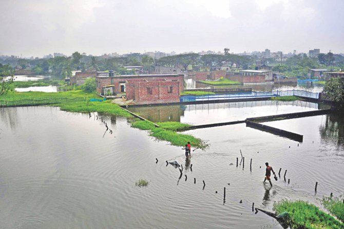An area of Demra in Dhaka is waterlogged following downpours over the last few days. Photo: Star