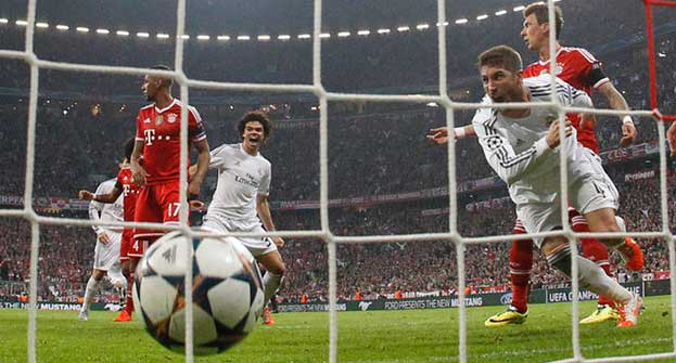 Sergio Ramos, right, gave Real Madrid a 2-0 lead over Bayern Munich. Photo: AP