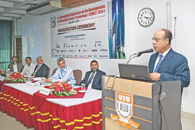 AK Azad Chowdhury, chairman of the University Grants Commission, speaks at the inauguration of the third international conference on the developments in renewable energy technology, at the United International University auditorium in Dhaka yesterday. Photo: Star