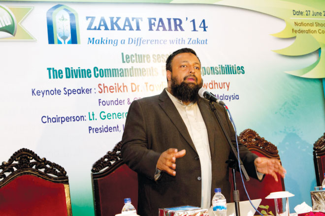 Renowned Islamic scholar Sheikh Dr Towfique Chowdhury presented the theme of zakat through his keynote speech in Zakat Fair 2014. Photo: CZM