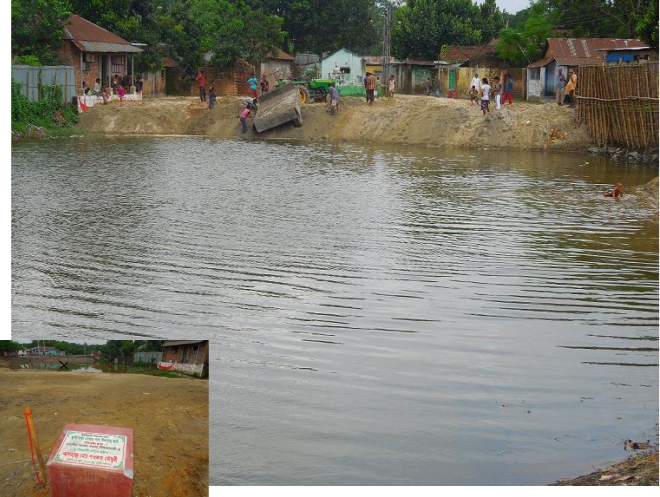 This leased water body belonging to Bangladesh Railway in Saidpur municipality area is getting filled with earth as local lawmaker Shawkat Chowdhury inaugurated the work (inset) for making an eidgah on June 14.  PHOTO: STAR