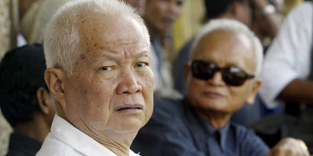Senior Khmer Rouge leaders Khieu Samphan (left) and Nuon Chea denied the charges against them