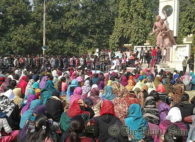 Over five thousand students of Rajshahi University gather at a protest rally at Shabash Bangladesh play grounds on the campus demanding immediate withdrawal of hiked fees and cancellation of evening master's courses on Saturday.