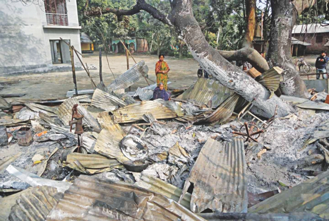 The rubble of a Hindu family's house attacked early Monday in Kornai village of Dinajpur. Photo: Star