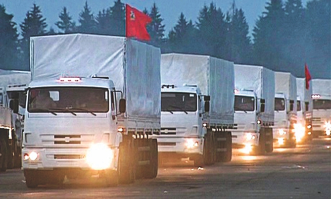 Russian humanitarian aid convoy heading towards eastern Ukraine yesterday