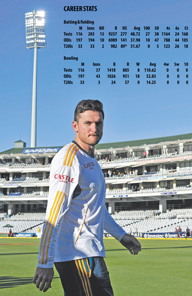 South Africa's retiring captain Graeme Smith walks off the field at the end of the fifth day of the third Test against Australia at Newlands in Capetown yesterday. Smith, international cricket's longest-serving captain, ended his international career with this match. PHOTO: AFP