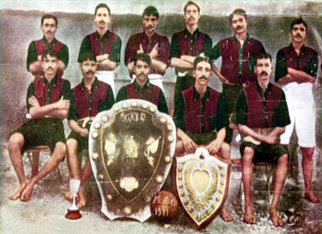 Samad with his team after winning IFA Champions Sheild in 1934.