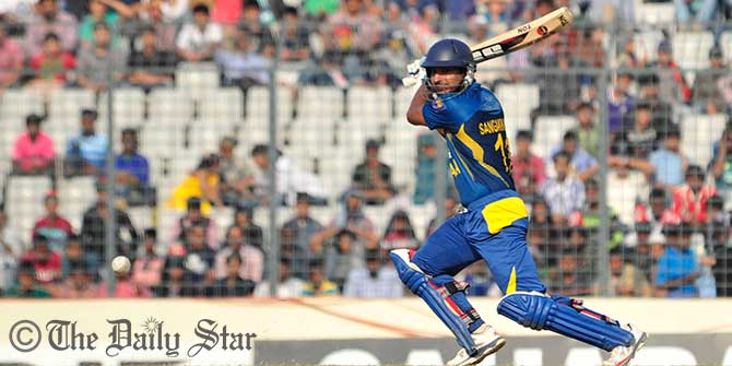 Kumar Sangakkara plays a square cut in 2nd ODI at Mirpur today. Photo: Firoz Ahmed